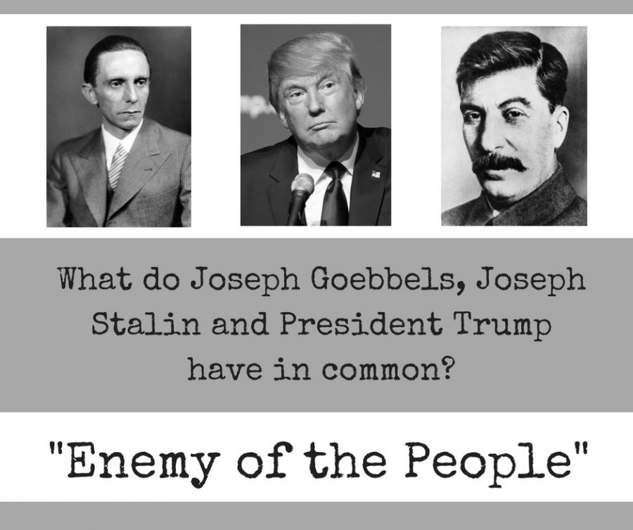 President+Donald+Trump+has+often+referred+to+the+media+as+the+%E2%80%9Cenemy+of+the+people.%E2%80%9D+This+phrase+was+also+used+by+Soviet+leader+Joseph+Stalin+and+Joseph+Goebbels+in+Nazi+Germany.+%0AGraphic+by+Hannah+Lathen