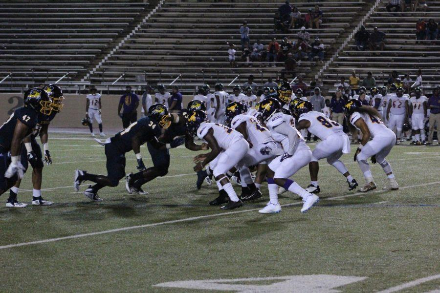 The Rams on offensive during the first quarter against Texas State. The Rams won the game 36-7. Photo by Amanda Roach