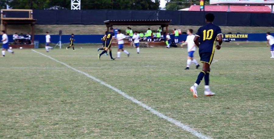 Soccer+player+Zion+Balogun+%2810%29+competes+during+the++Rams+game+against+Our+Lady+of+the+Lake+University+on+Sept.+2.%0APhoto+by+Ebeline+Luna