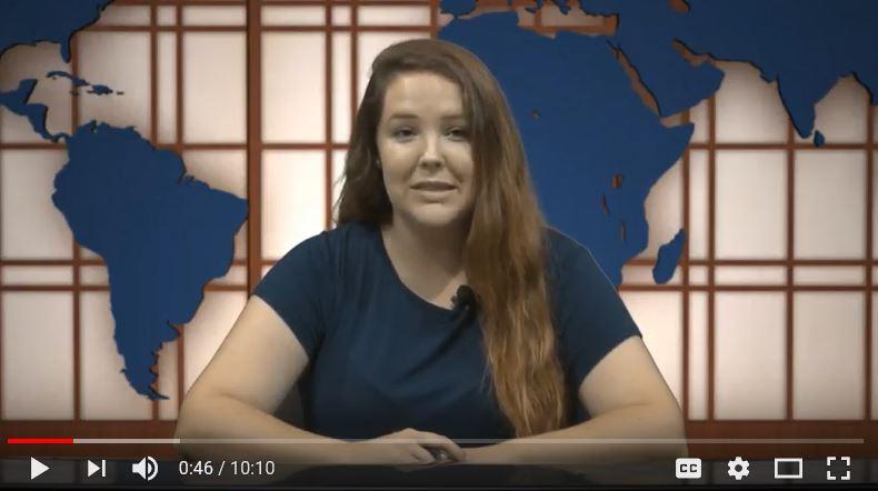 Miranda Day host the first newscast of the semester. Screenshot by Hannah Onder