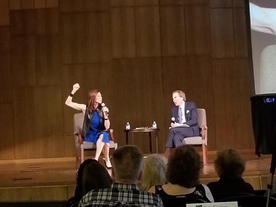 Charlotte Jones Anderson speaks with host Scott Murray on Tuesday at Martin Hall. Photo by Elena Maldonado