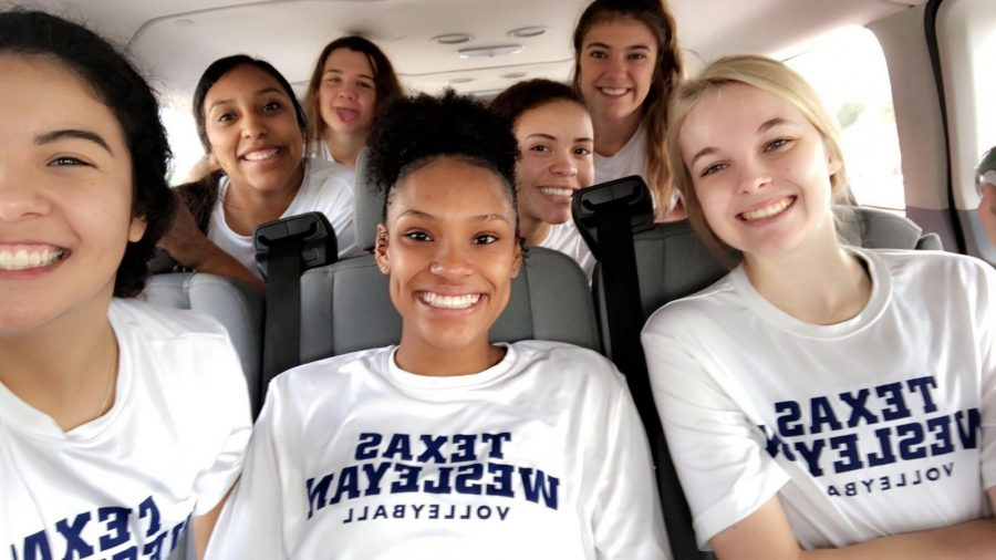 (Front row, left to right) Sarah Benitez, Tierra Converson, Paige Wallace, (Second row, left to right) Brenda Pargas, Jasmine Creek, (back row, left to right) Brittni Mohle, and Dana Lohrke get ready for a bus ride with a game day selfie.  Photo contributed by Brenda Pargas.