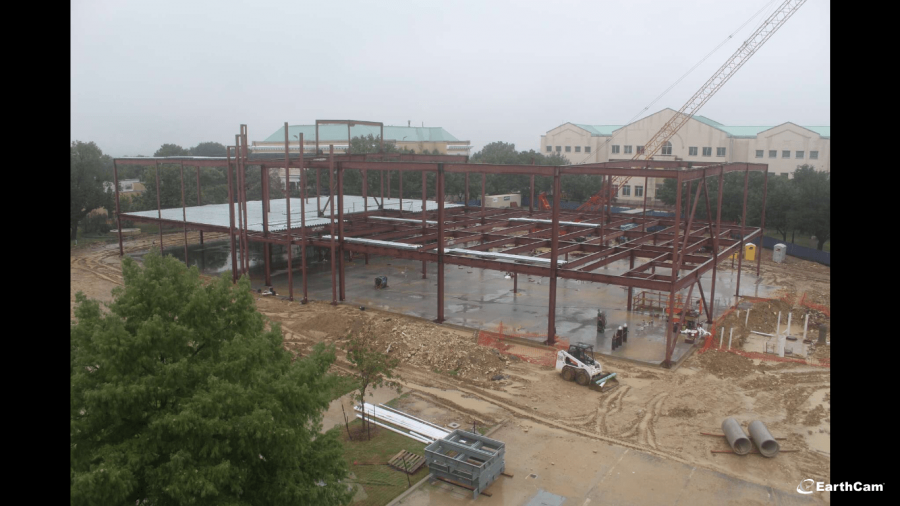 View of Martin Center construction from live footage on Texas Wesleyan University's website.  Screenshot by Kaylia Brown