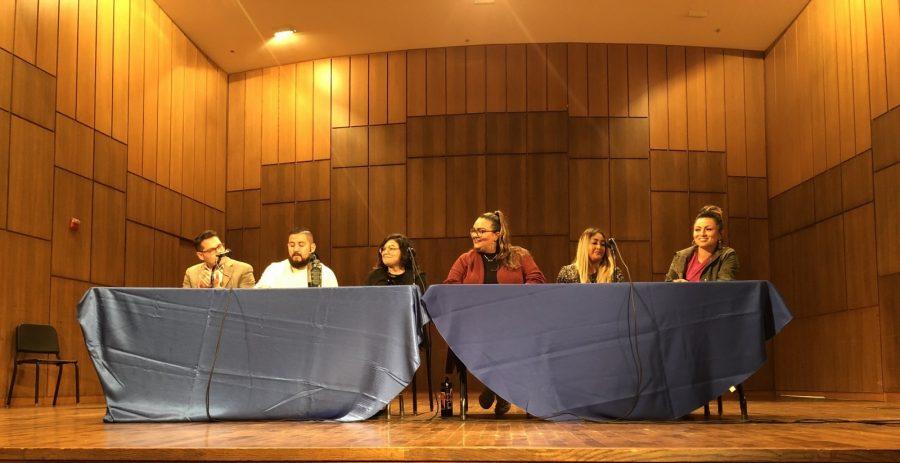 The panelists at the Latinx Rising panel include (left to right) Giovanni Valderas, Jonathan Perez, Angela Andrade, Eva Arreguin, Jessica Ramirez, and Tristeza Ordex-Ramirez. Photo by Jacinda Chan