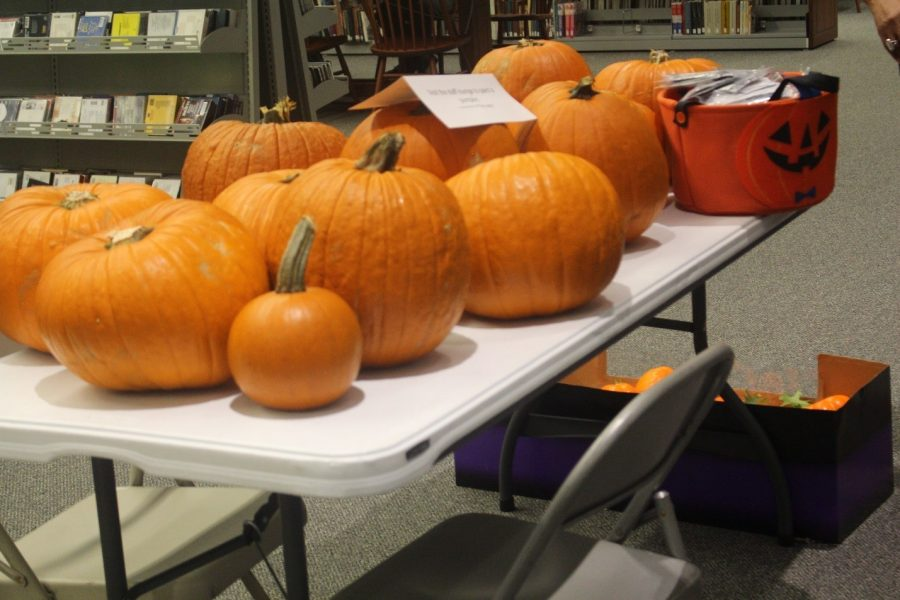 The pumpkins are set out and ready for decoration at Wednesdays event. Photo by Rachell Aguilar