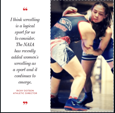 Athletic Director Ricky Dotson said Wesleyan is looking into adding women's wrestling. Graphic by Kaylee Conrad