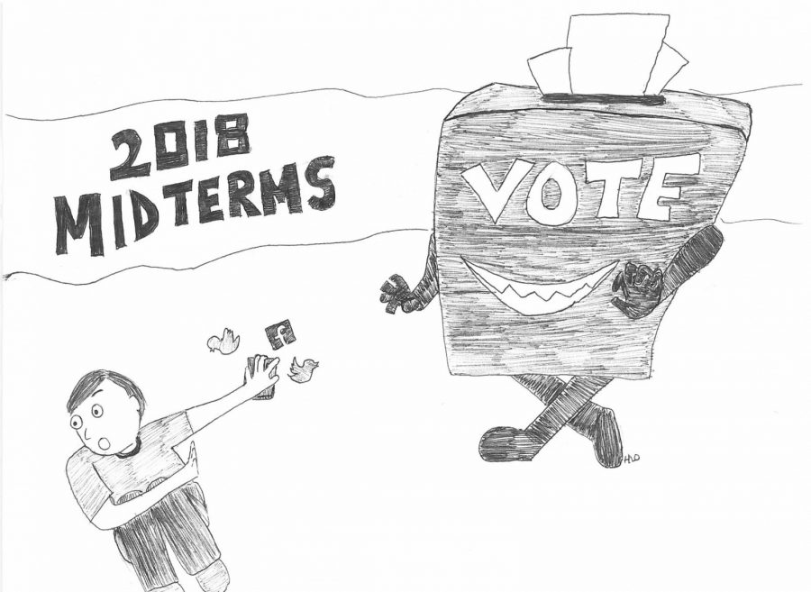 Young adults should take the political opinons they post on social media and take them to the ballot box Nov. 6. Cartoon by Hannah Onder