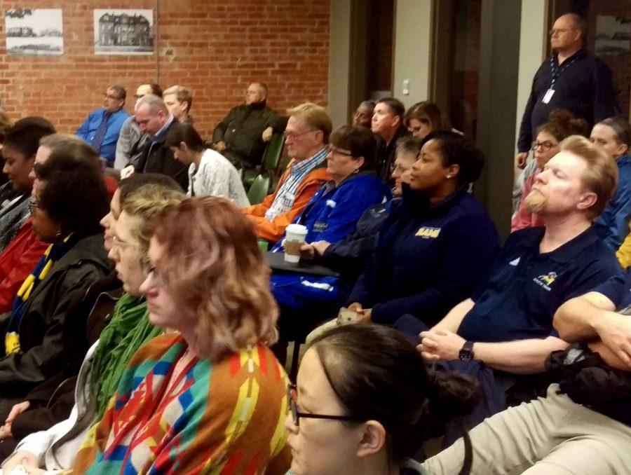 Faculty and staff gather in the Baker Building for the Tuesday town hall meeting. Photo by Hannah Onder