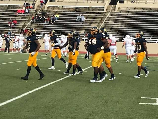 The+Rams+defense%2C+shown+here+during+the+Oct.+13+game+against+Oklahoma+Panhandle+State+University%2C+has+given+up+an+average+of+42+points+each+game+this+season.%0APhoto+by+Ashton+Willis