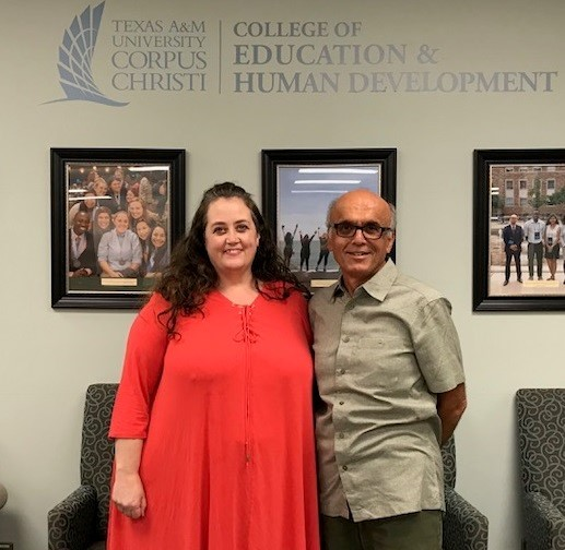 Dr. Patricia Chastain poses with her dissertation chair/advisor Dr. Kamiar Kouzekanani, during her defense in Corpus Christi in Sept. Photo contributed by Patrica Chastain