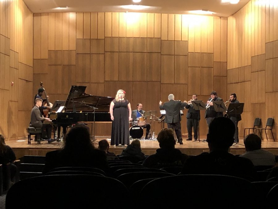 Kristen Carlini sings It Dont Mean A Thing (If It Aint Got That Swing) at the end of Thursday nights jazz concert. Photo by Jacinda Chan