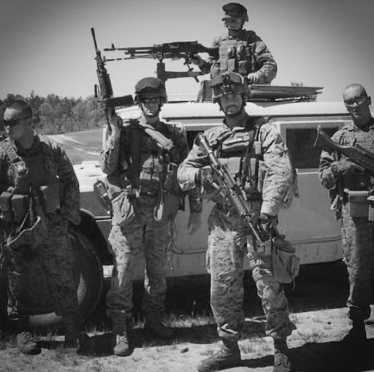 David Cason (second from the left) with other members of the 1st FAST Co. 1st Platoon during pre-deployment workup.  Photo contributed by David Cason