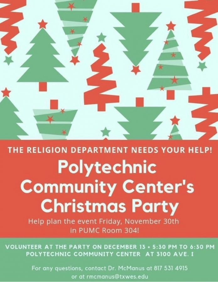 Information poster about the Christmas party courtesy of Alyssa Hutchinson.
