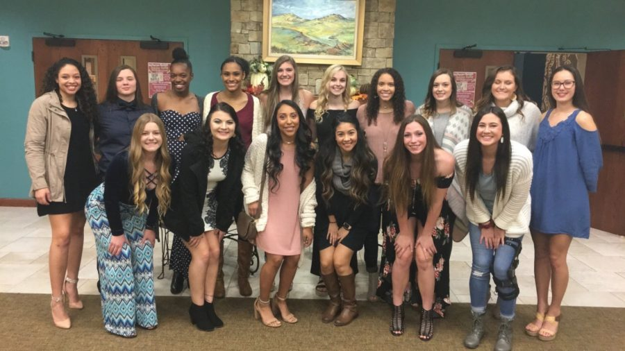 The womens volleyball team poses during their banquet in November. Photo courtesy of the Texas Wesleyan volleyball teams Twitter account.