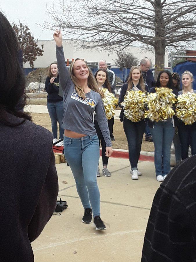 SGA President Alyssa Hutchinson leads students into the Martin Center to sign the foundation. Photo by Elizabeth Lloyd