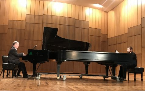 Boaz Sharon and Pavel Nersessian perform at Nicholas Martin Hall on Monday.  Photo by Hannah Lathen