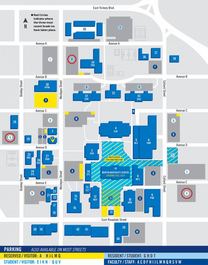 Map sourced from txwes.edu.; break-in locations added by David Cason