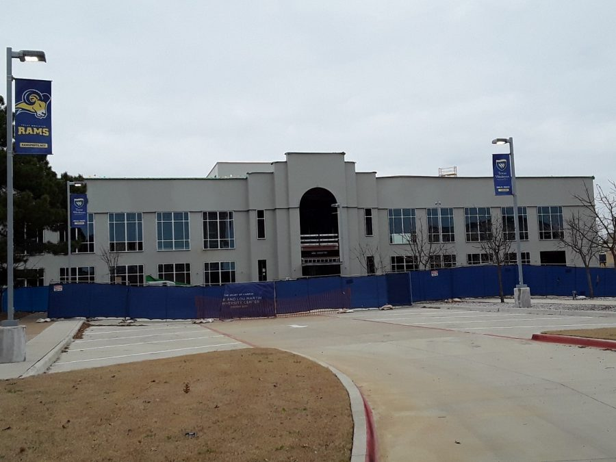 The sheathing on the Martin Center was added over the holiday break. Photo by Elizabeth Lloyd