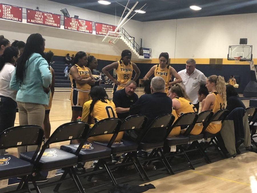 Head coach  Steve Trachier giving his team a time-out speech during the teams Feb. 7 win over Southwestern Christian University. Photo by Mallory Marks