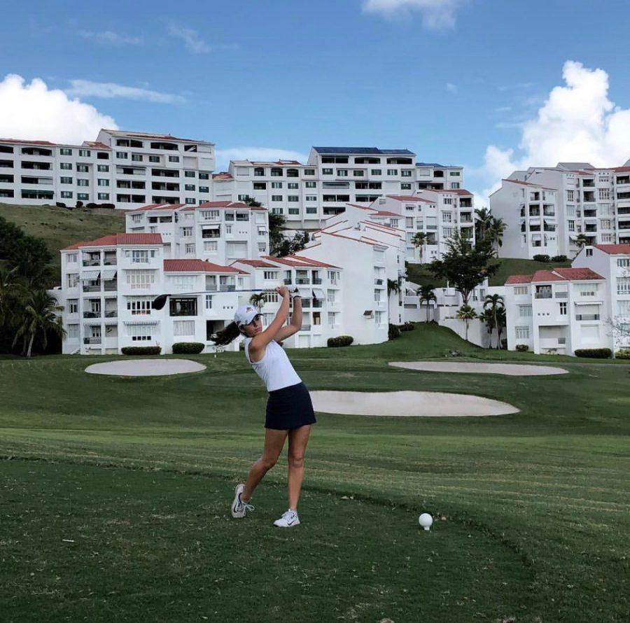 Aubrey Zastoupil drives from the tee at a recent tournament in Puerto Rico. This was the last tournament the Lady Rams played in 2018. Photo contributed by Emily Hunt