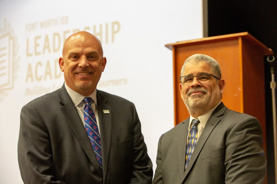 Fort Worth ISD Superintendent Kent Scribner, left, and Texas Wesleyan University Dean of Education Carlos Martinez attend a town hall introducing parents at Mitchell Boulevard Elementary to the Leadership Academy Network.  Photo courtesy of Alexis Patterson of the S&G Group
