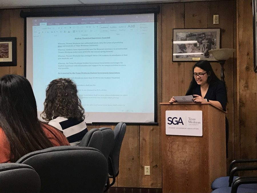SGA Representative Kaylia Brown presents the Student Theatrical Experience Fund Bill at Thursdays general business meeting. Photo by Hannah Lathen