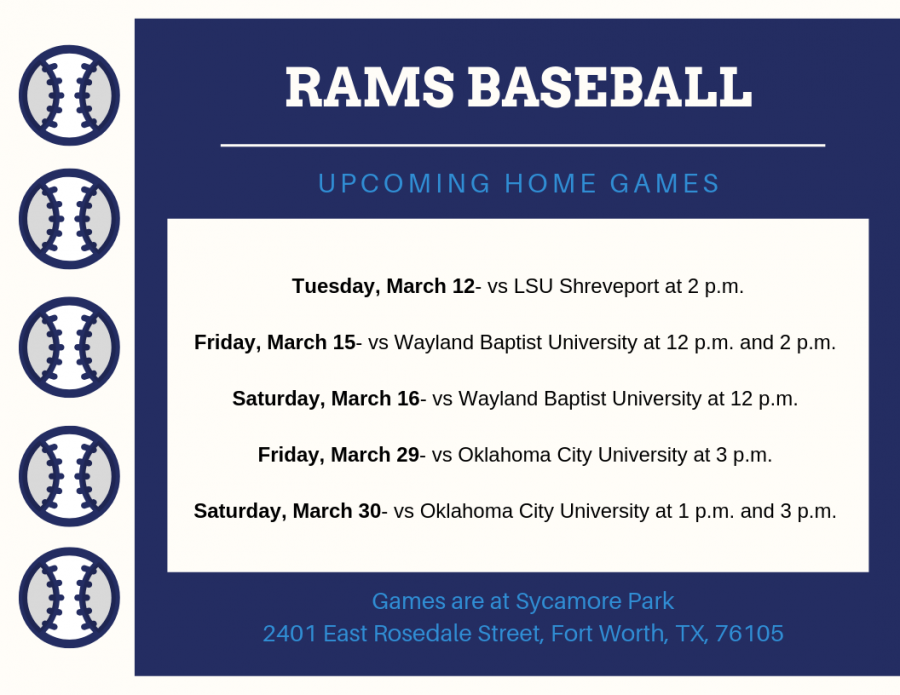 These are upcoming games for the Rams baseball team. Graphic by Miranda Day