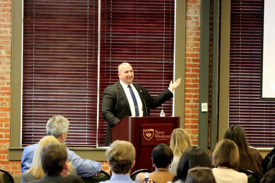Associate Vice President of Student Affairs Gary Stout talks about Wesleyan graduate survey results. Photo by Hannah Onder