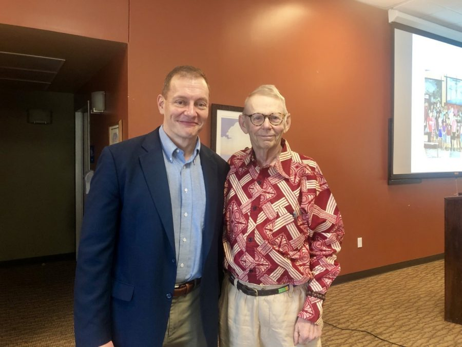 Dr. Christoper Ohan (left) and Dr. William Cook (right) pose for a photo after the Wilson Lectureship on Monday.  Photo by Mallory Marks
