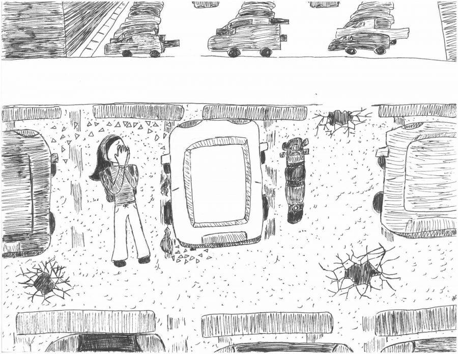 The main issues regarding the parking lots are a lack of space, damaging pavement, lack of safety, lighting, and security. Cartoon by Hannah Onder