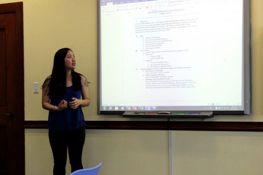 International Representative Finn Le talks  about her year in SGA. Photo by Hannah Onder