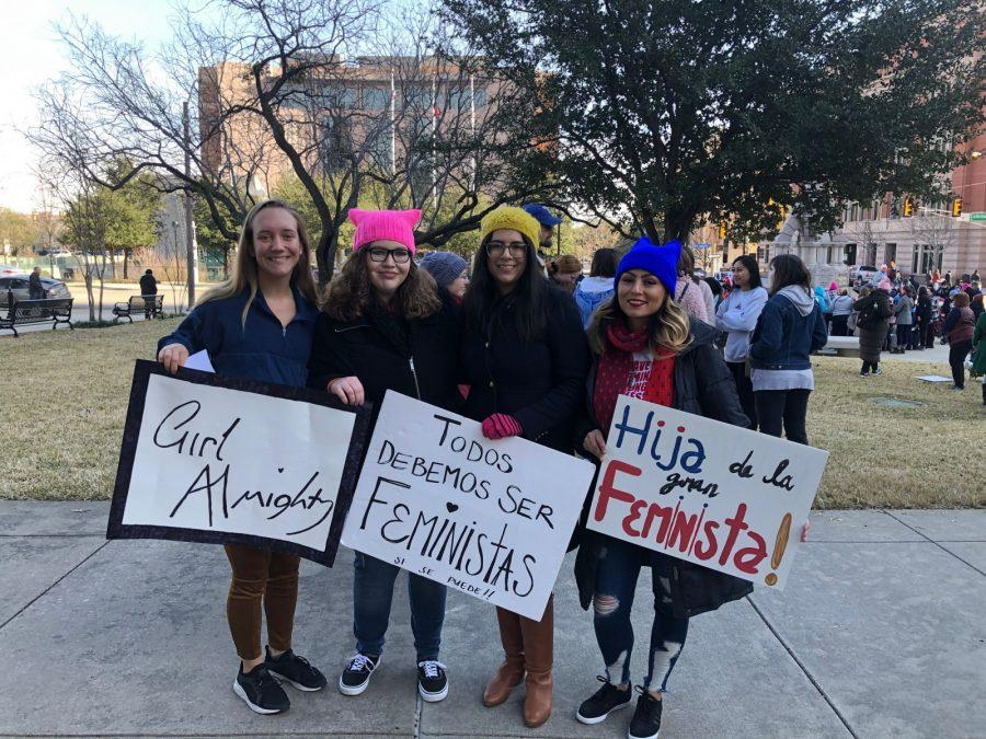 Students Alyssa Hutchinson and Hannah Lathen (left) and alumni Valeria Ramos and Tristeza Ordex-Ramirez marched at the Women's March in downtown Fort Worth in January. They decided to form a women's organization at the march.  Photo courtesy of Hannah Lathen
