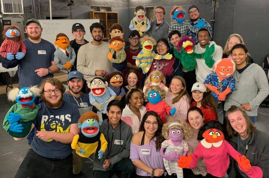 """In order to be better prepared on how to work with puppets, the cast members attended a puppetry workshop lead by Rick Lyon, an original """"Avenue Q"""" cast member. Photo courtesy of Jacob Sanchez"""