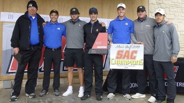 Texas Wesleyan men's golf team place first at the Sooner Athletic Conference Championship for the first time.  Photo courtesy of Taylor Beckstead.