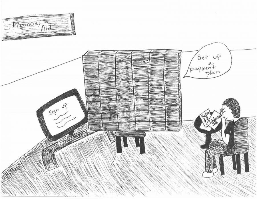 While payment plans are necessary, students face several issues with Wesleyan's financial policies and enforcement of them.  Cartoon by Hannah Onder