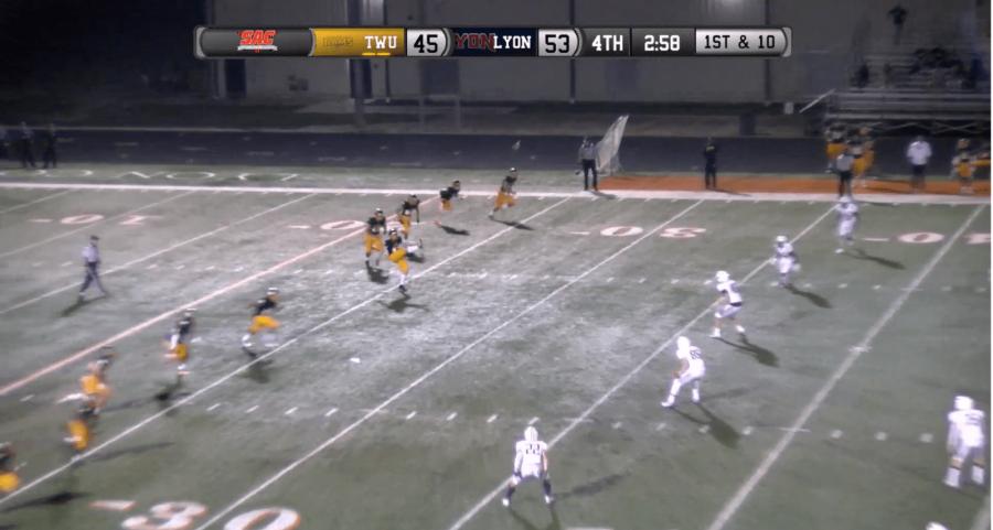 Gregory+Blaser+kicks+off+late+in+the+fourth+quarter.++Screenshot+by+Amanda+Roach