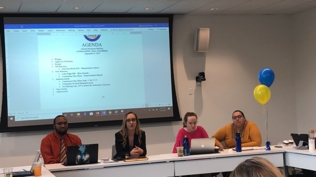 SGA executive officers (left to right) Carlos Mathurin, Alyssa Hutchinson, Lexi Barlow, and Karen Duarte-Escobar  listen as a bill is presented at Tuesdays meeting. Photo by Arely Chavez