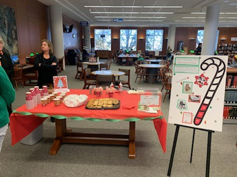 A hot cocoa bar was provided for students to get refreshments and cookies at Tuesdays party in the West Library. Photo by Chelsea Day