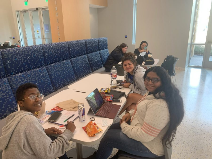 Texas Wesleyan University students study together in the Martin University Center on Dead Day for finals. Photo by Chelsea Day