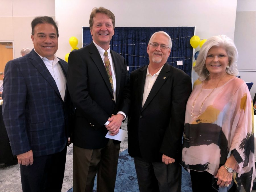 Dr. Hector Quintanilla, President Frederick Slabach and Dr. Allen Henderson (left to right) celebrate Hendersons legacy. Photo by Arely Chavez