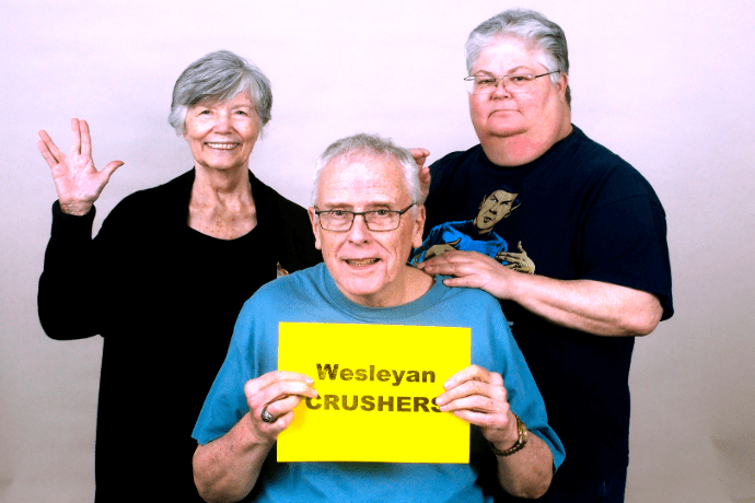Dr. Mary Anne Clark, Dr. Bruce McDonald and Dr. Marilyn Pugh (left to right) make up the Wesleyan Crushers, a name inspired by Wesley Crusher from Star Trek. Photo contributed by Tarrant Literacy Coalition