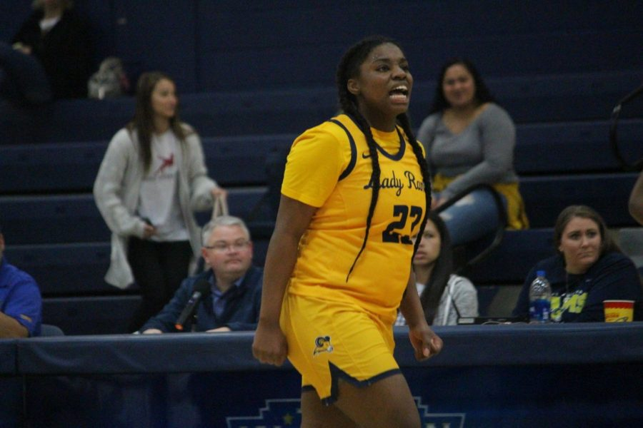 Guard Alexus Brigham (23) fires up on the court during the third quarter of the game against SAGU. Photo by Arely Chavez