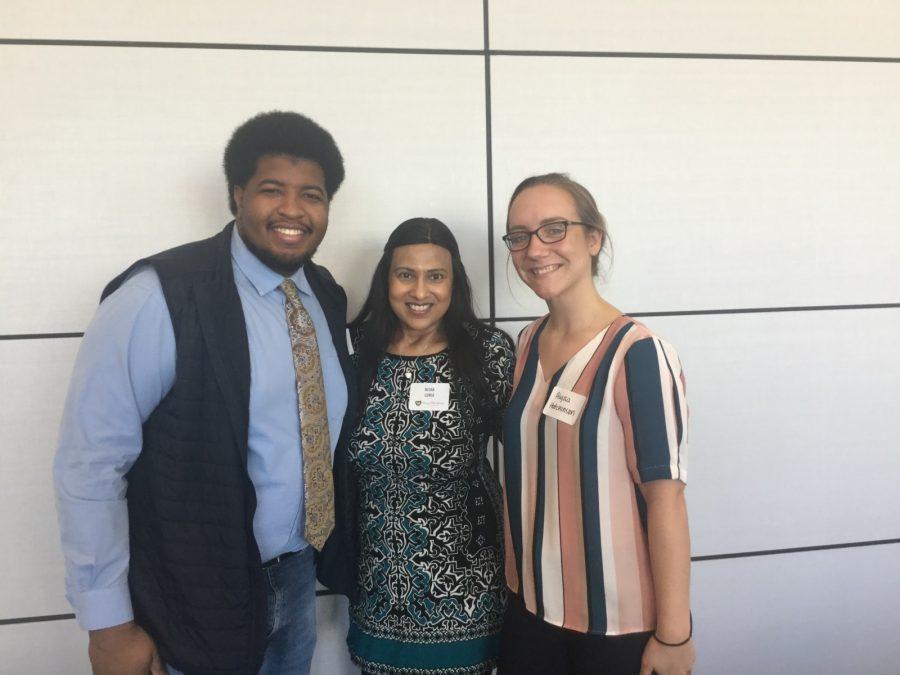Azeez Akande, Nisha Lunia and Alyssa Hutchinson pause after Thursdays Mentor Luncheon. Photo by Rachell Aguilar