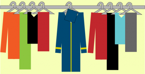 Students hang their graduation robes in the closet waiting for the December 2020 graduation. Graphic by Hannah Onder
