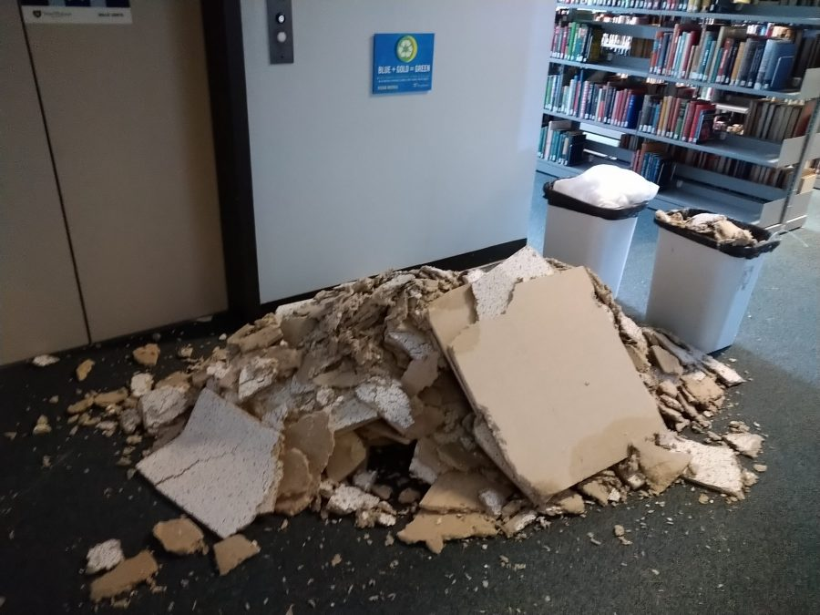 Here is a pile of ceiling debris on the third floor of the library.